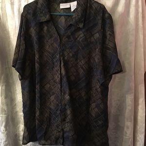 Worthington olive and blue blouse 20W